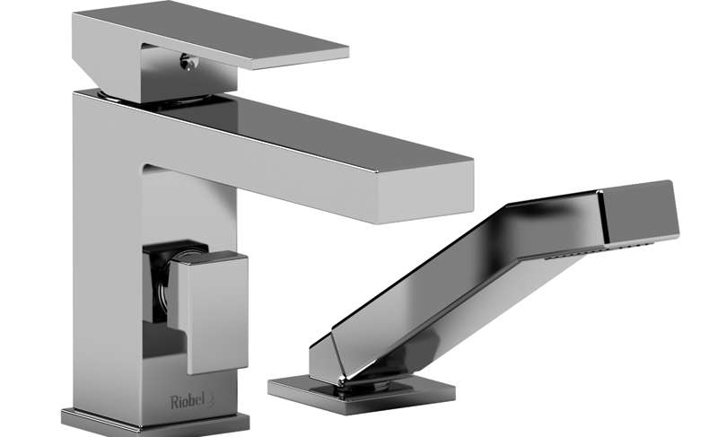 2-PIECE DECK-MOUNT TUB FILLER WITH HAND SHOWER KUBIK