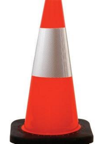 "18"" High-Visibility Orange Traffic Cones"