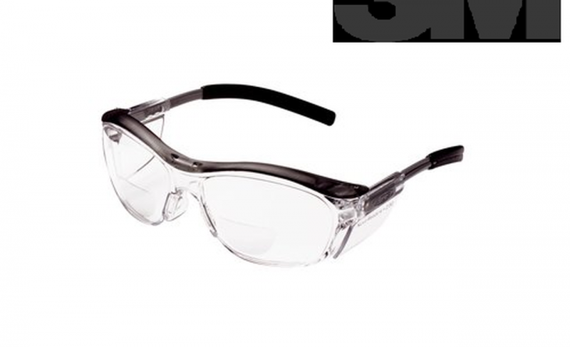 3M 11436 Reader Safety Glasses with Clear Lens Gray Frame +2.5